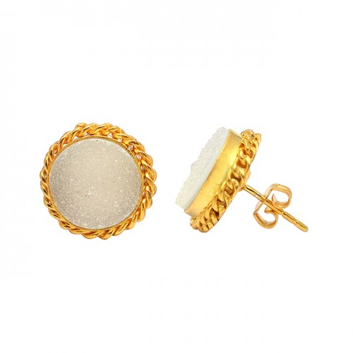 White Druzy Round Shape Gemstone 925 Sterling Silver Gold Plated Stud Earrings