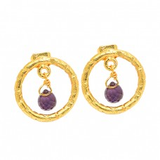 Amethyst Pear Drops Shape Gemstone 925 Sterling Silver Gold Plated Stud Earrings