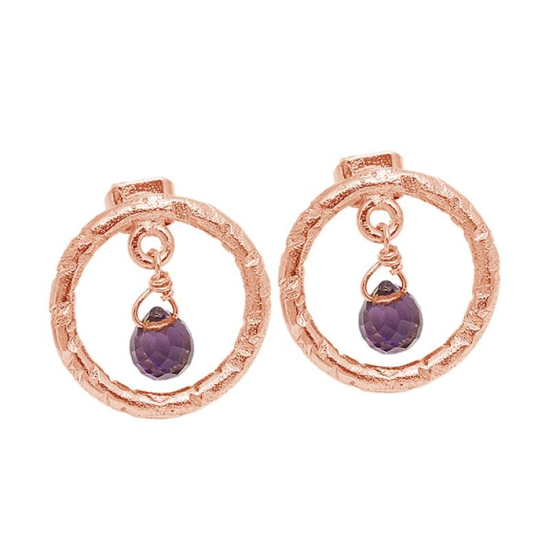 Amethyst Pear Drops Shape Gemstone 925 Sterling Silver Gold Plated Stud Earrings