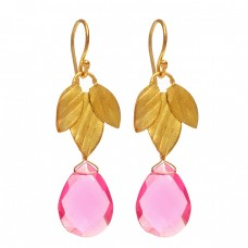 Briolette Pear Shape Pink Quartz Gemstone 925 Sterling Silver Gold Plated Dangle Earrings