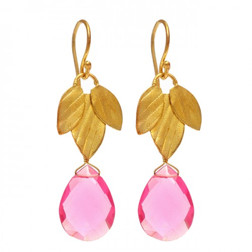 Briolette Pear Shape Pink Quartz Gemstone 925 Sterling Silver Gold Plated Dangle Earrings