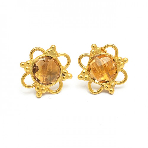 925 Sterling Silver Round Shape Citrine Gemstone Gold Plated Designer Stud Earrings