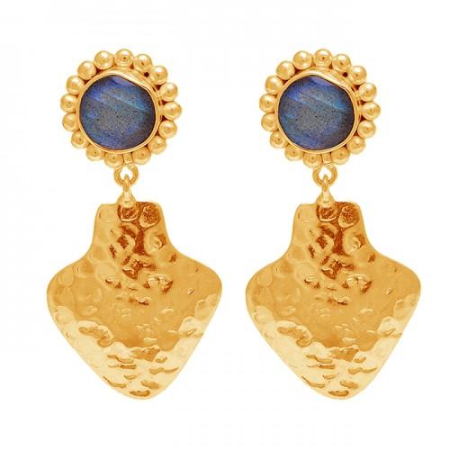 925 Sterling Silver Round Shape Labradorite Gemstone Hammered Designer Stud Earrings