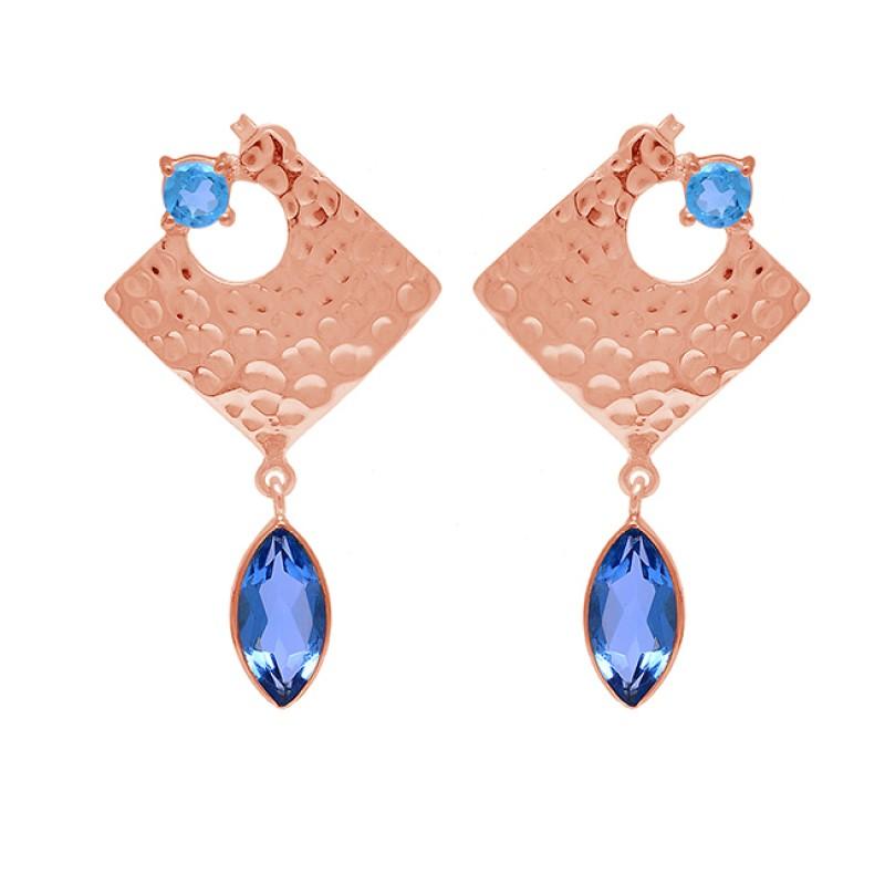 925 Sterling Silver Blue Topaz Gemstone Hammered Designer Stud Dangle Earrings