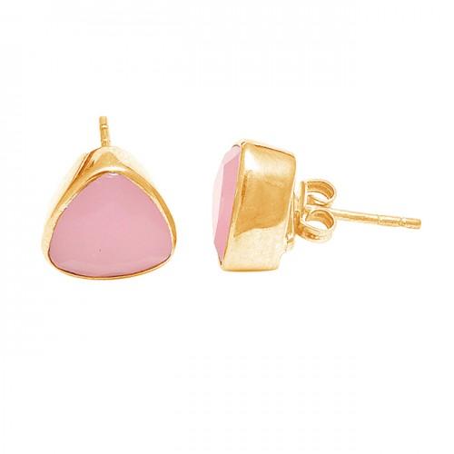 Triangle Shape Rose Chalcedony Gemstone 925 Sterling Silver Stud Earrings
