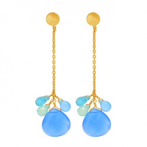 Blue Chalcedony Gemstone 925 Sterling Silver Gold Plated Chain Dangle Earrings