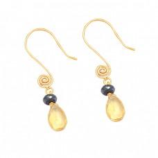 Citrine Hematite Gemstone 925 Sterling Silver Designer Dangle Earrings