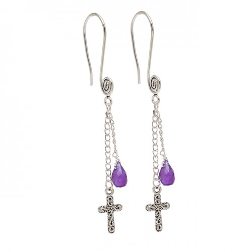 Amethyst Pear Drop Shape Gemstone 925 Sterling Silver Hanging Chain Dangle Earrings