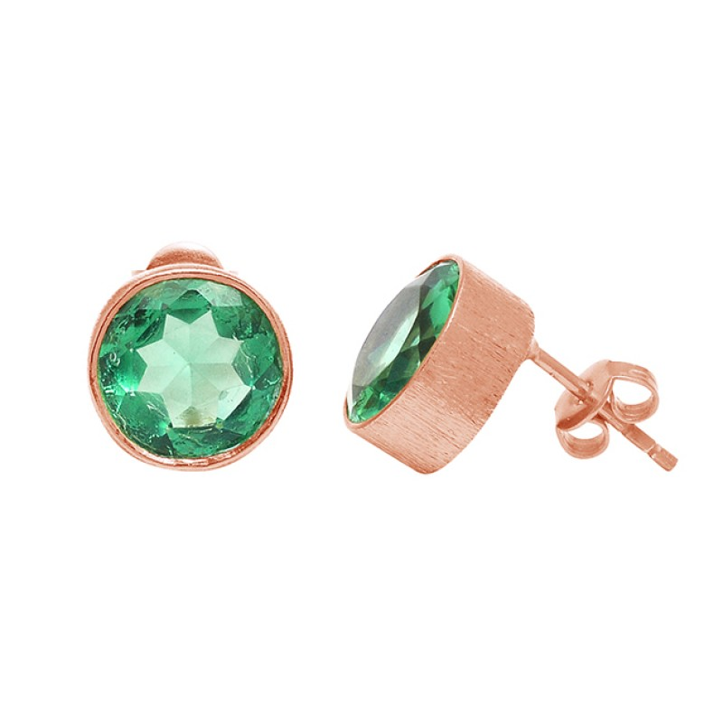 Faceted Round Shape Apatite Gemstone 925 Sterling Silver Gold Plated Stud Earrings