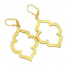 Vintage Designer Plain 925 Sterling Silver Gold Plated Clip-On Dangle Earrings
