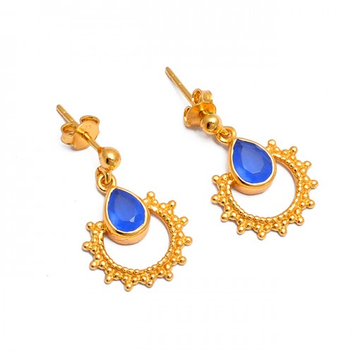 Vintage Handcrafted Designer Blue Chalcedony Gemstone Gold Plated Dangle Stud Earrings