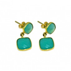 Aqua Chalcedony Cushion Shape Gemstone 925 Silver Gold Plated Dangle Stud Earrings