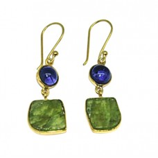 Iolite Peridot Gemstone 925 Sterling Silver Gold Plated Dangle Earrings