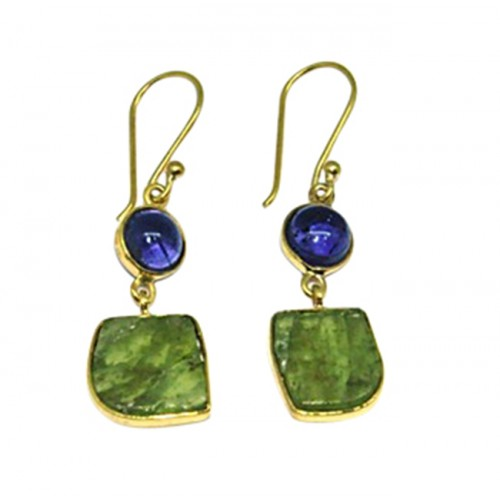 Iolite Peridot Gemstone 925 Sterling Silver Gold Plated Dangle Earrings