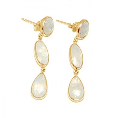 Bezel Setting Rainbow Moonstone 925 Sterling Silver Stud Dangle Earrings