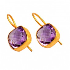 Briolette Cushion Shape Amethyst Gemstone 925 Silver Gold Plated Fixed Ear Wire Earrings