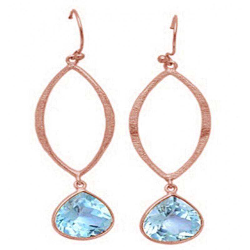 Heart Shape Blue Topaz Gemstone 925 Sterling Silver Gold Plated Dangle Earrings