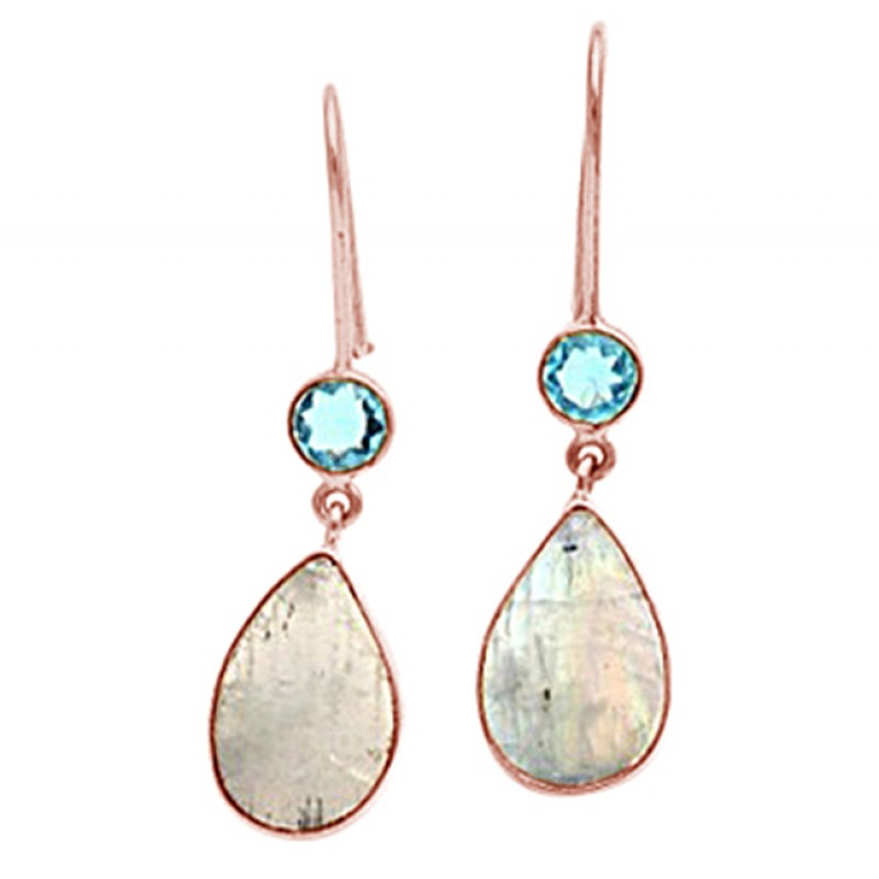 925 Sterling Silver Blue Topaz Rainbow Moonstone Gold Plated Fixed Ear Wire Earrings