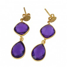 Pear Cushion Shape Amethyst Gemstone 925 Sterling Silver Gold Plated Stud Earrings