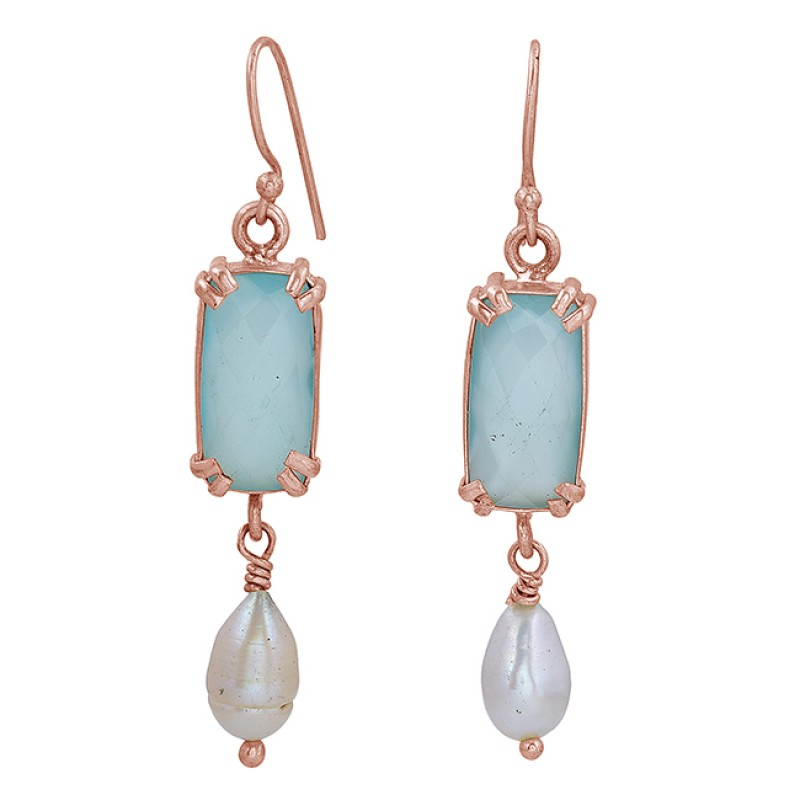 Pearl Chalcedony Gemstone 925 Sterling Silver Gold Plated Dangle Earrings