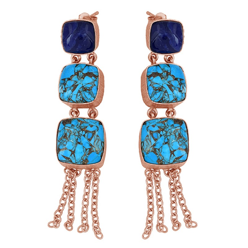 Blue Copper Turquoise Sapphire Gemstone 925 Silver Gold Plated Dangle Earrings