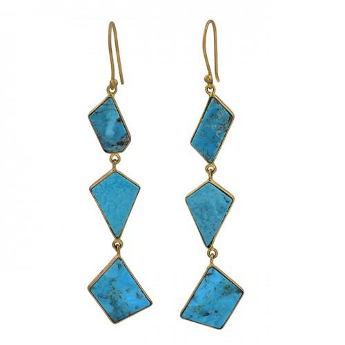 925 Sterling Silver Turquopise Gemstone Gold Plated Bezel Setting Earrings