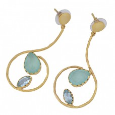 Blue Topaz Chalcedony Gemstone 925 Sterling Silver Gold Plated Stud Earrings