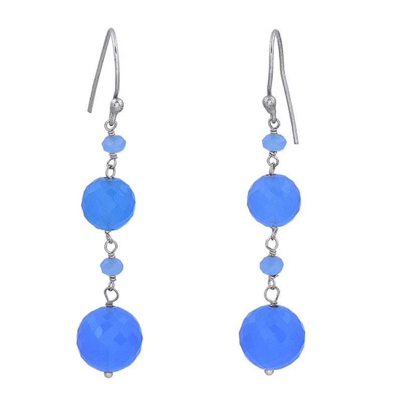 Blue Chalcedony Round Shape Gemstone 925 Sterling Silver Gold Plated Earrings