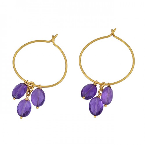 925 Sterling Silver Oval Shape Amethyst Gemstone Gold Plated Hoop Earrings