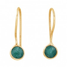 Round Shape Emerald Gemstone 925 Sterling Silver Fixed Ear Wire Earrings