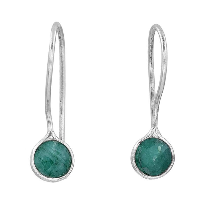 Round Shape Emerald Gemstone 925 Sterling Silver Fixed Ear Wire Earrings