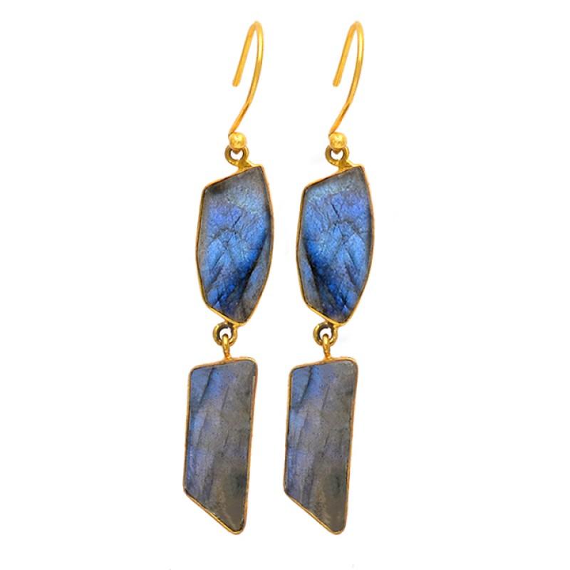 Fancy Shape Labradorite Gemstone 925 Sterling Silver Gold Plated Dangle Earrings