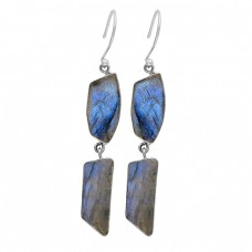 Fancy Shape Labradorite Gemstone 925 Sterling Silver Gold Plated Dangle Earrings