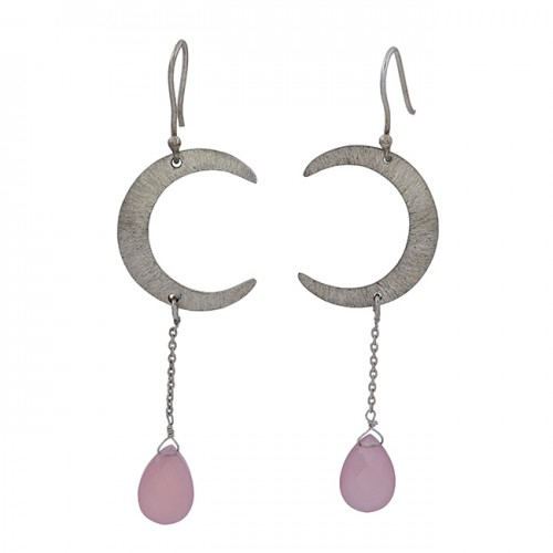 Rose Chalcedony Gemstone 925 Sterling Silver C Shape Designer Dangle Earrings