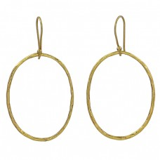 925 Sterling Silver Plain Handcrafted Designer Gold Plated Dangle Earrings