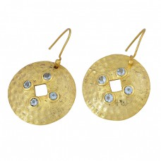 Round Shape Blue Topaz Gemstone 925 Sterling Silver Gold Plated Dangle Earrings