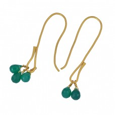 Pear Drops Shape Green Onyx Gemstone 925 Sterling Silver Gold Plated Earrings
