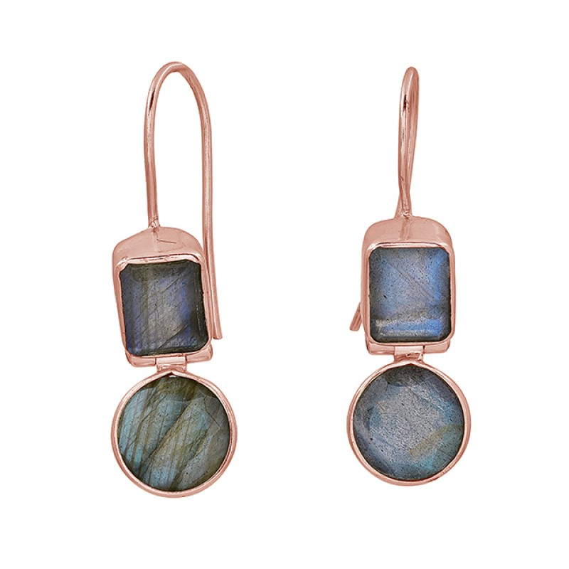 Labradorite Round Rectangle Shape Gemstone 925 Sterling Silver Gold Plated Earrings