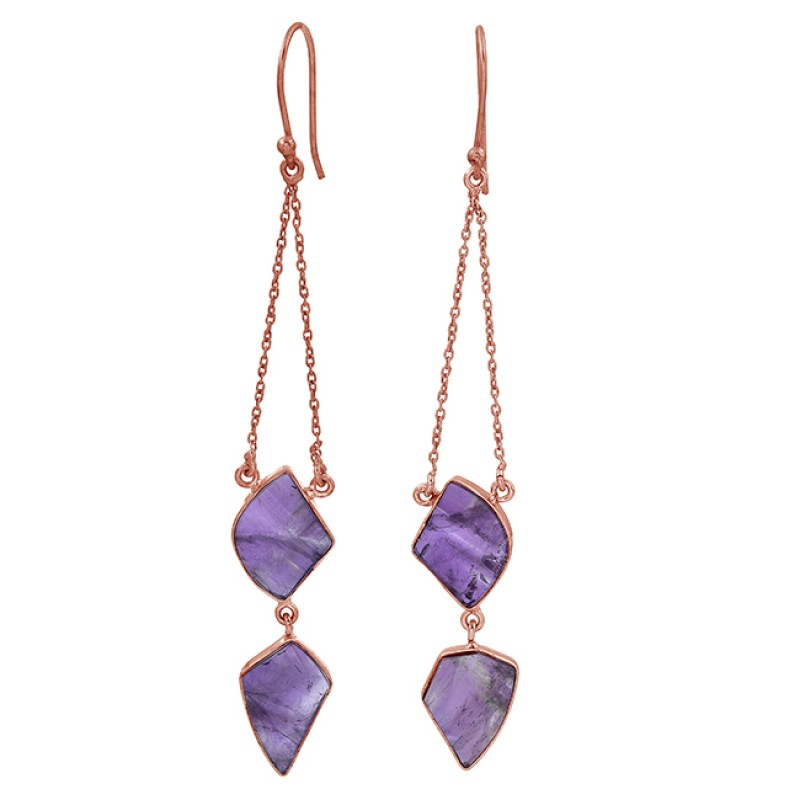 925 Sterling Silver Amethyst Fancy Shape Gemstone Gold Plated Dangle Earrings