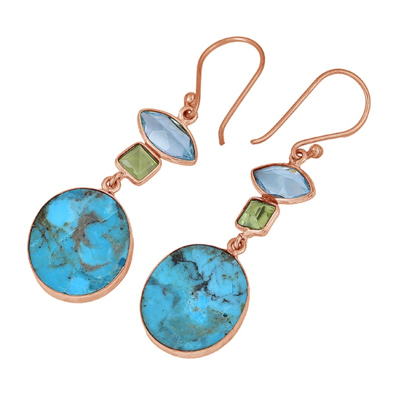 Blue Topaz Peridot Turquoise Gemstone 925 Sterling Silver Gold Plated Earrings