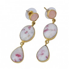 Cinnabar Rose Chalcedony Gemstone 925 Sterling Silver Gold Plated Dangle Earrings
