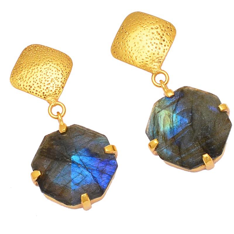 Hexagon Shape Labradorite 925 Sterling Silver Gold Plated Dangle Stud Earrings Jewelry