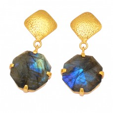 Hexagon Shape Labradorite 925 Sterling Silver Gold Plated Dangle Stud Earrings Jewelry