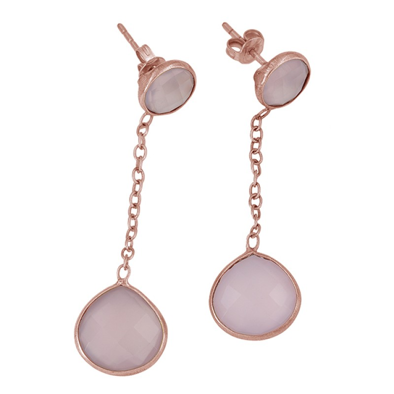 Rose Quartz Round Heart Shape Gemstone 925 Sterling Silver Gold Plated Stud Earrings