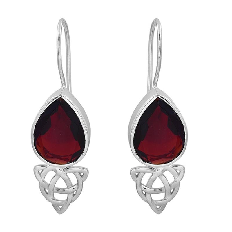 Pear Shape Garnet Gemstone 925 Sterling Silver Handmade Designer Earrings