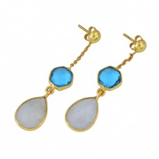 Blue Topaz Moonstone 925 Sterling Silver Gold Plated Dangle Stud Earrings