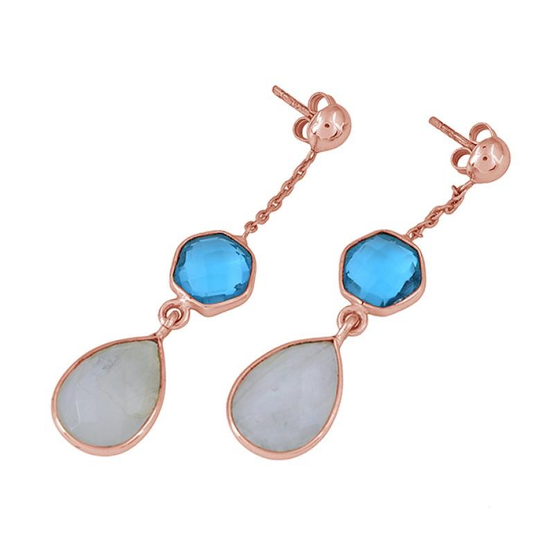 Blue Topaz Moonstone 925 Sterling Silver Gold Plated Dangle Stud Earrings