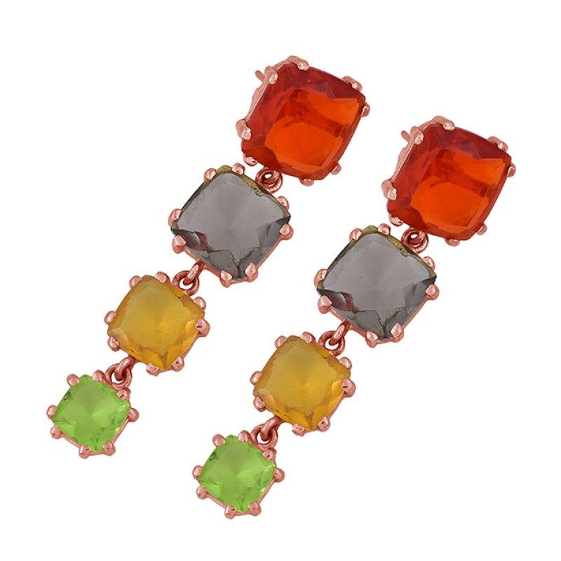 Prong Setting Multi Color Gemstone 925 Sterling Silver Gold Plated Stud Earrings