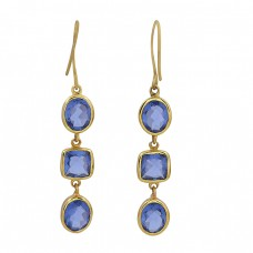 925 Sterling Silver Iolite Gemstone Gold Plated Handmade Designer Earrings