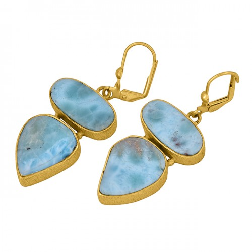 Larimar Oval Pear Shape Gemstone 925 Sterling Silver Gold Plated Clip-On Earrings